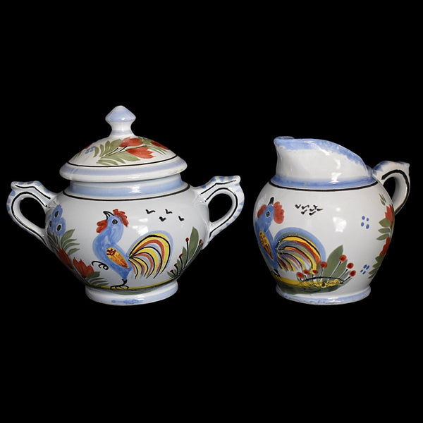 Quimper Le Coq Breton Rooster Creamer and Sugar Bowl French Faience Pottery - Premier Estate Gallery