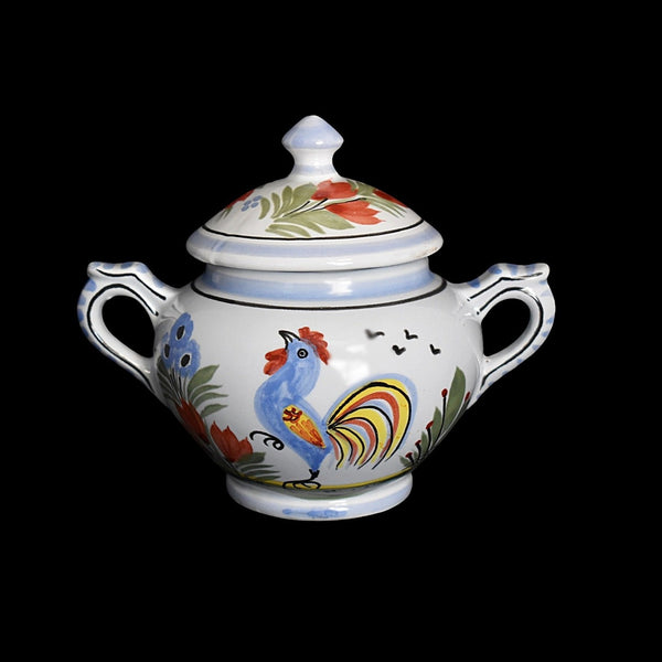 Quimper Le Coq Breton Rooster Creamer and Sugar Bowl French Faience Pottery - Premier Estate Gallery 1