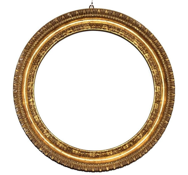 Antique Victorian Gilt Gesso Frame Antique Round Gold Wood Frame