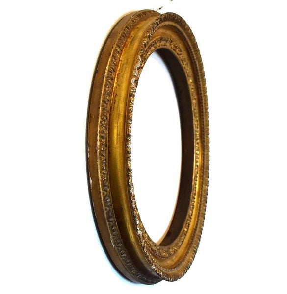 Antique Victorian Gilt Gesso Frame Antique Round Gold Wood Frame - Premier Estate Gallery 2