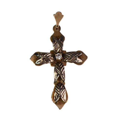 Antique 14k Rose Gold Cross with 14k White Gold and Rock Crystal - Premier Estate Gallery