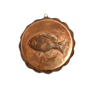 Round Copper Embossed Fish Mold Fluted Sides - Premier Estate Gallery