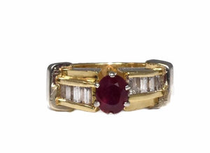 14k Ruby Diamond Engagement Ring Heavy Plumb Gold Setting - Premier Estate Gallery 1