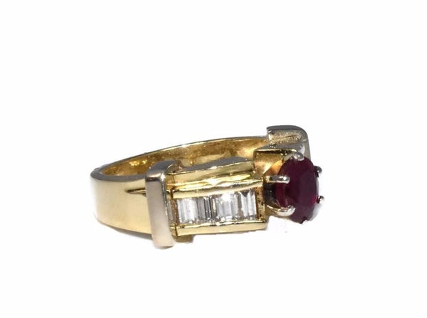 14k Ruby Diamond Engagement Ring Heavy Plumb Gold Setting - Premier Estate Gallery 2