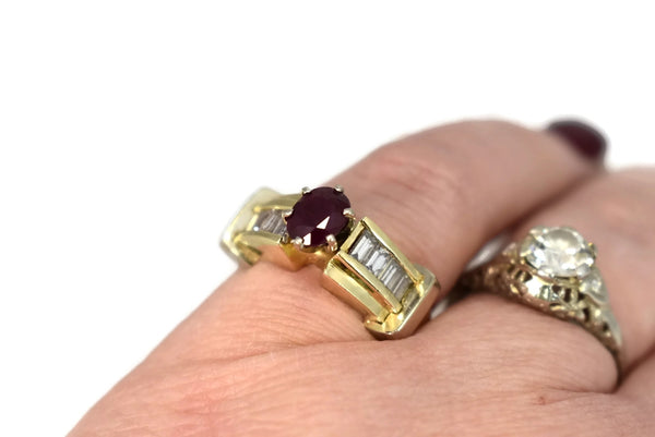 14k Ruby Diamond Engagement Ring Heavy Plumb Gold Setting - Premier Estate Gallery 4