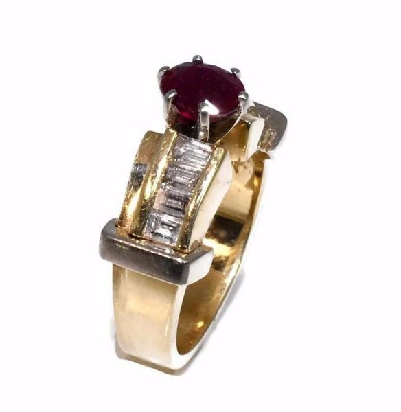 14k Ruby Diamond Engagement Ring Heavy Plumb Gold Setting - Premier Estate Gallery 3