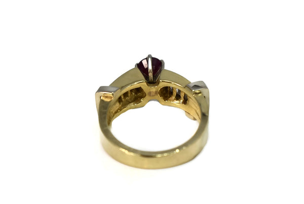 14k Ruby Diamond Engagement Ring Heavy Plumb Gold Setting