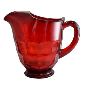 Vintage Viking Glass Ruby Red Georgian Pitcher 48 oz, MCM Art Glass Red Pitcher Barware Iced Tea  - Premier Estate Gallery