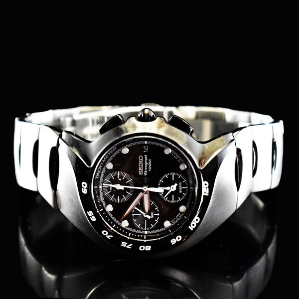 Estate Seiko Chronograph Alarm Watch Sports Black Brushed Stainless Steel - Premier Estate Gallery