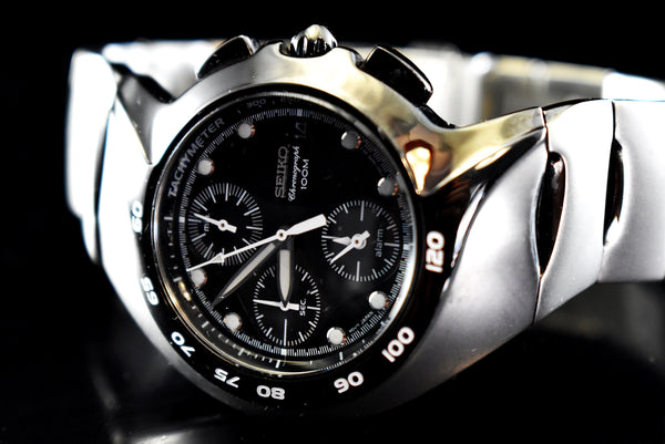 Estate Seiko Chronograph Alarm Watch Sports Black Brushed Stainless Steel - Premier Estate Gallery 1