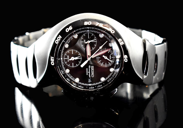 Estate Seiko Chronograph Alarm Watch Sports Black Brushed Stainless Steel - Premier Estate Gallery 2