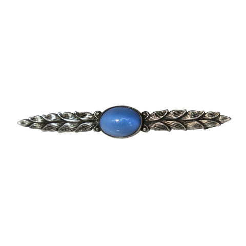 Art Deco Silver Leaves Bar Brooch with Blue Stone Unisex Style - Premier Estate Gallery