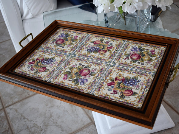 Large Victorian Style English Tea Tray Tilecrafts Staffordshire Fruit Tiles - Premier Estate Gallery 1