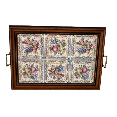 Large Victorian Style English Tea Tray Tilecrafts Staffordshire Fruit Tiles - Premier Estate Gallery