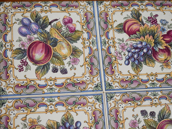 Large Victorian Style English Tea Tray Tilecrafts Staffordshire Fruit Tiles