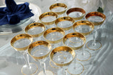 Vintage Tiffin Rambler Rose Gold Trim Liquor Stemware X12 Optic Glass 15042 Stem - Premier Estate Gallery 4