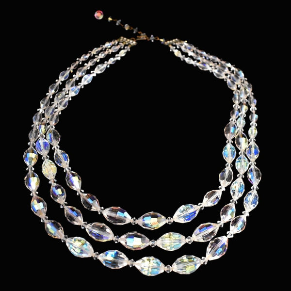 1950s Glamour AB Crystal Triple Strand Necklace Big Graduated Aurora Borealis Beads - Premier Estate Gallery