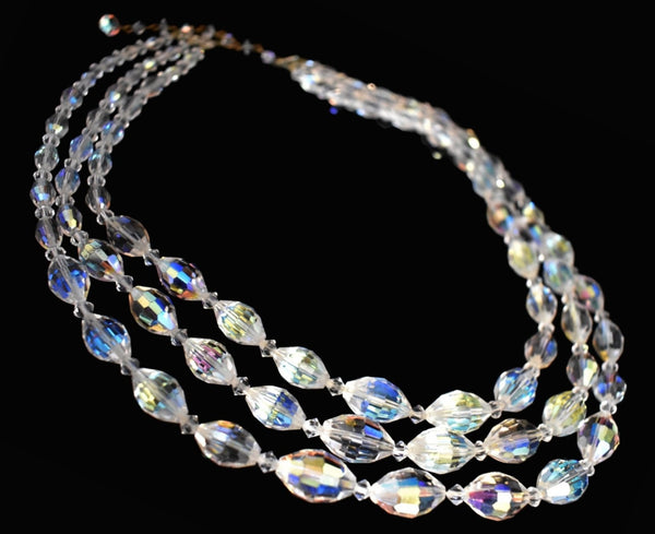 1950s Glamour AB Crystal Triple Strand Necklace Big Graduated Aurora Borealis Beads - Premier Estate Gallery  1