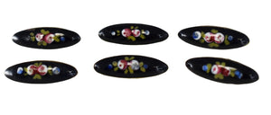 Antique French Enamel Floral Buttons Brass Gilt Set of 6 Victorian - Premier Estate Gallery