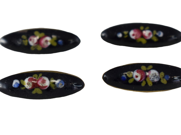 Antique French Enamel Floral Buttons Brass Gilt Set of 6 Victorian