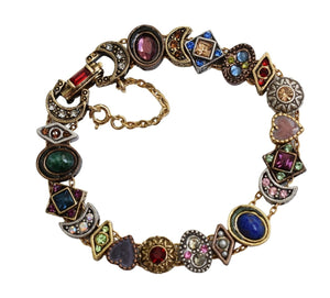 Romantic Victorian Style Charm Bracelet Gold Silver Bronze Plated 19 Jeweled Charms - Premier Estate Gallery