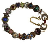Romantic Victorian Style Charm Bracelet Gold Silver Bronze Plated 19 Jeweled Charms - Premier Estate Gallery 5