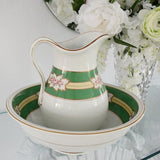 Victorian Ironstone Wash Set Pitcher Wash Bowl Soap Dish Pink Green Gold -Premier Estate Gallery 1