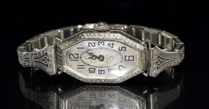 Estate 14k White Gold Art Deco Ladies Watch J. Reynold Needs TLC - Premier Estate Gallery 4