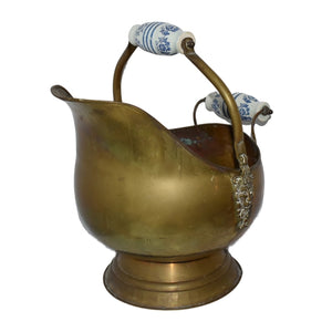 Delft Holland Brass Coal Scuttle Larger Size Authentic Vintage Farmhouse Decor - Premier Estate Gallery