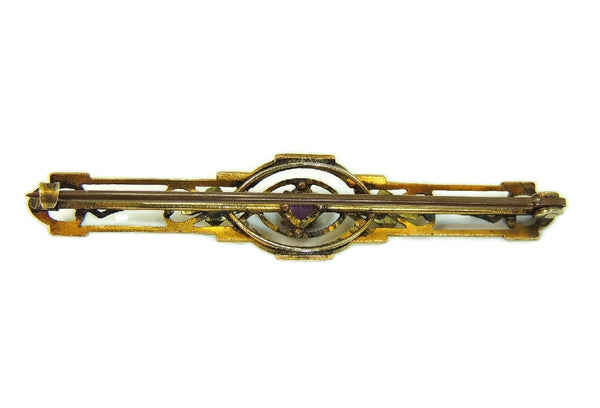Antique Nouveau Brooch Bar Pin Amethyst Glass Stone Signed - Premier Estate Gallery  - 4