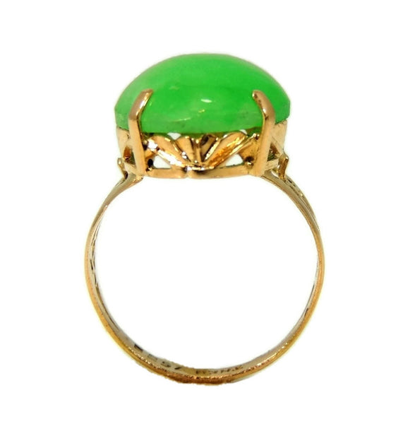 18k Jade Ring Vintage Art Deco Style 8.06 carats - Premier Estate Gallery  - 2