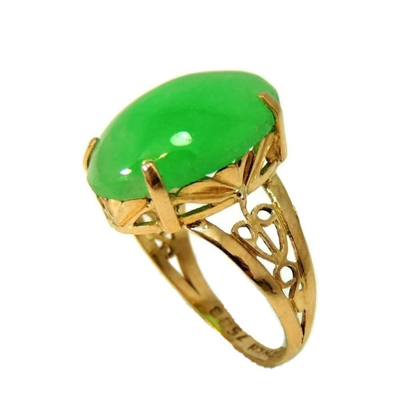 18k Jade Ring Vintage Art Deco Style 8.06 carats - Premier Estate Gallery  - 1