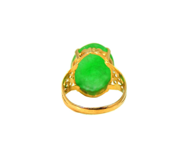 18k Jade Ring Vintage Art Deco Style 8.06 carats