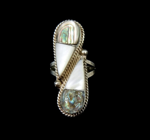 Vintage Abalone Mother of Pearl Taxco Ring Sterling Silver - Premier Estate Gallery  - 1