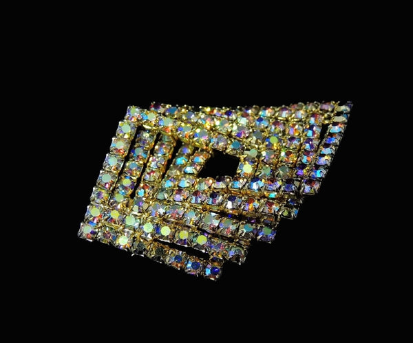 Vintage AB Rhinestone Jewelry Set Brooch Earrings Geometric MOD - Premier Estate Gallery  - 6