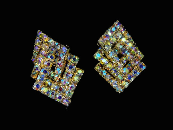 Vintage AB Rhinestone Jewelry Set Brooch Earrings Geometric MOD - Premier Estate Gallery  - 3