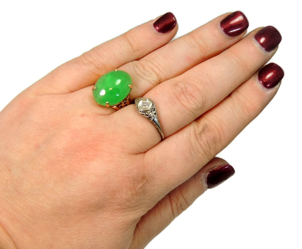 18k Jade Ring Vintage Art Deco Style 8.06 carats - Premier Estate Gallery  - 4