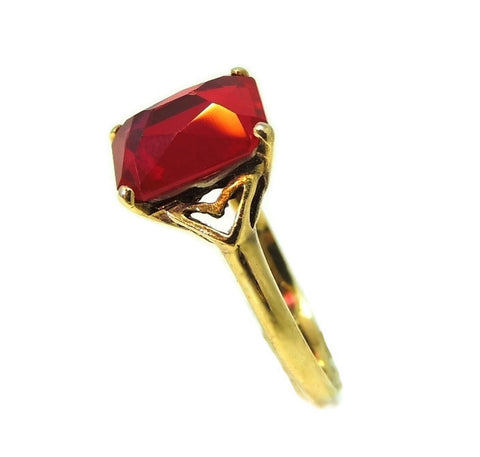 Vintage 10k Lab Ruby Art Deco Ring 4 Carats - Premier Estate Gallery  - 1