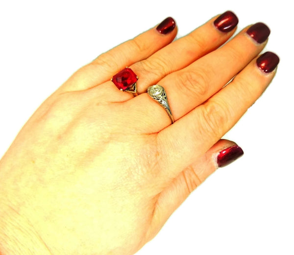 Vintage 10k Lab Ruby Art Deco Ring 4 Carats - Premier Estate Gallery  - 4