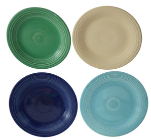 Authentic Vintage Fiesta Dinner Plates Old Ivory Cobalt Light Green Turquoise X4 - Premier Estate Gallery