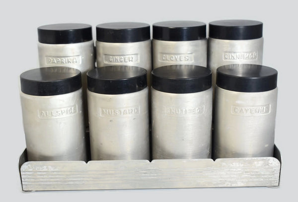 Anodized Aluminum Spice Tin Set with Rack Vintage - Premier Estate Gallery