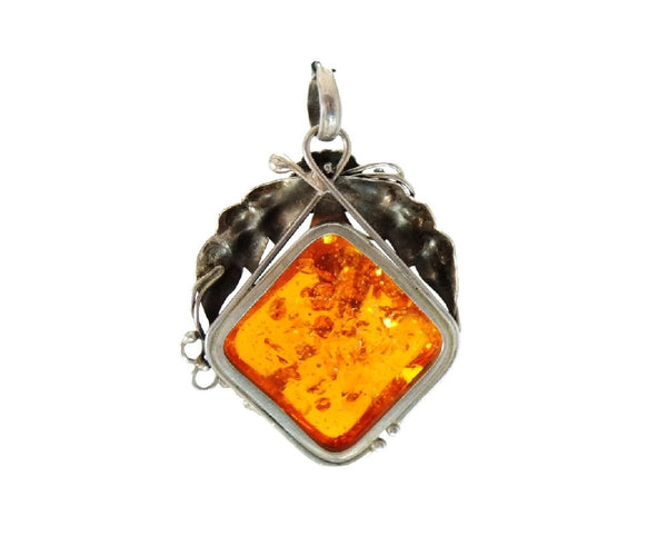 1950s Baltic Amber Pendant in Silver Leaf Floral Frame Setting