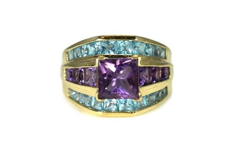 14k Gold Amethyst Blue Topaz Gemstone Ring 4.32 ctw - Premier Estate Gallery