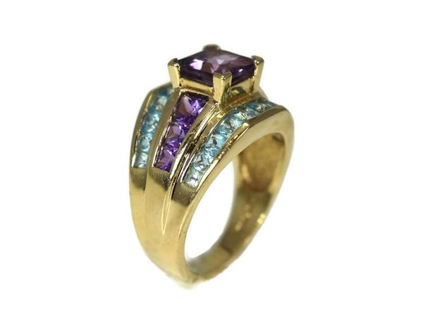 14k Gold Amethyst Blue Topaz Gemstone Ring 4.32 ctw - Premier Estate Gallery 2