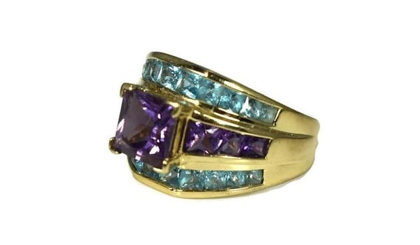 14k Gold Amethyst Blue Topaz Gemstone Ring 4.32 ctw - Premier Estate Gallery 3