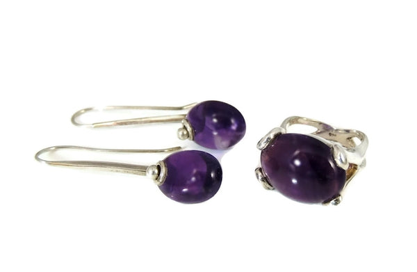 MOD Amethyst Sterling Silver Ring Earring Set 35 ctw - Premier Estate Gallery  - 7
