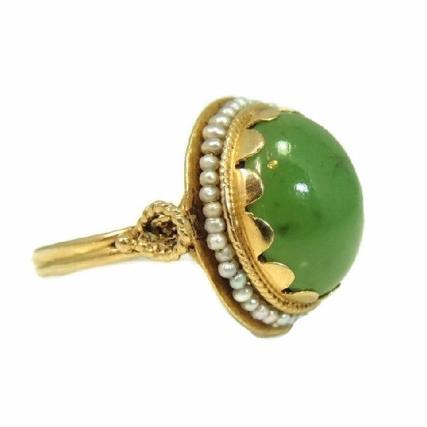 14k Gold Jade Cocktail Ring Art Nouveau Antique Strung Seed Pearls Late Victorian