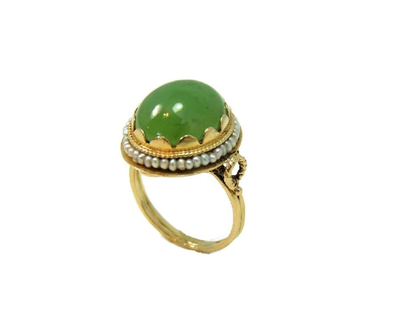 14k Gold Jade Cocktail Ring Art Nouveau Antique Strung Seed Pearls Late Victorian - Premier Estate Gallery  - 2