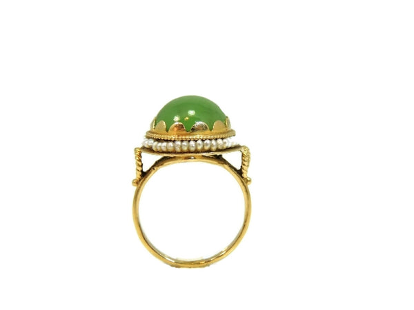14k Gold Jade Cocktail Ring Art Nouveau Antique Strung Seed Pearls Late Victorian - Premier Estate Gallery  - 4