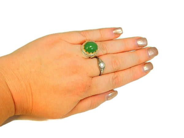 14k Gold Jade Cocktail Ring Art Nouveau Antique Strung Seed Pearls Late Victorian - Premier Estate Gallery  - 5